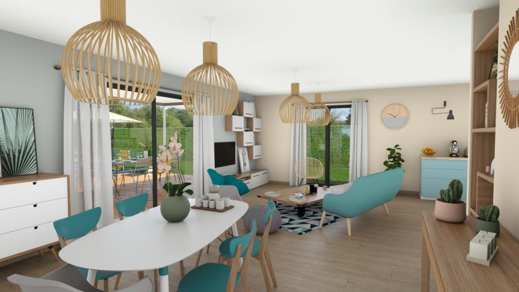 Clairlande - Modèle Camélia visuel séjour - salle à manger