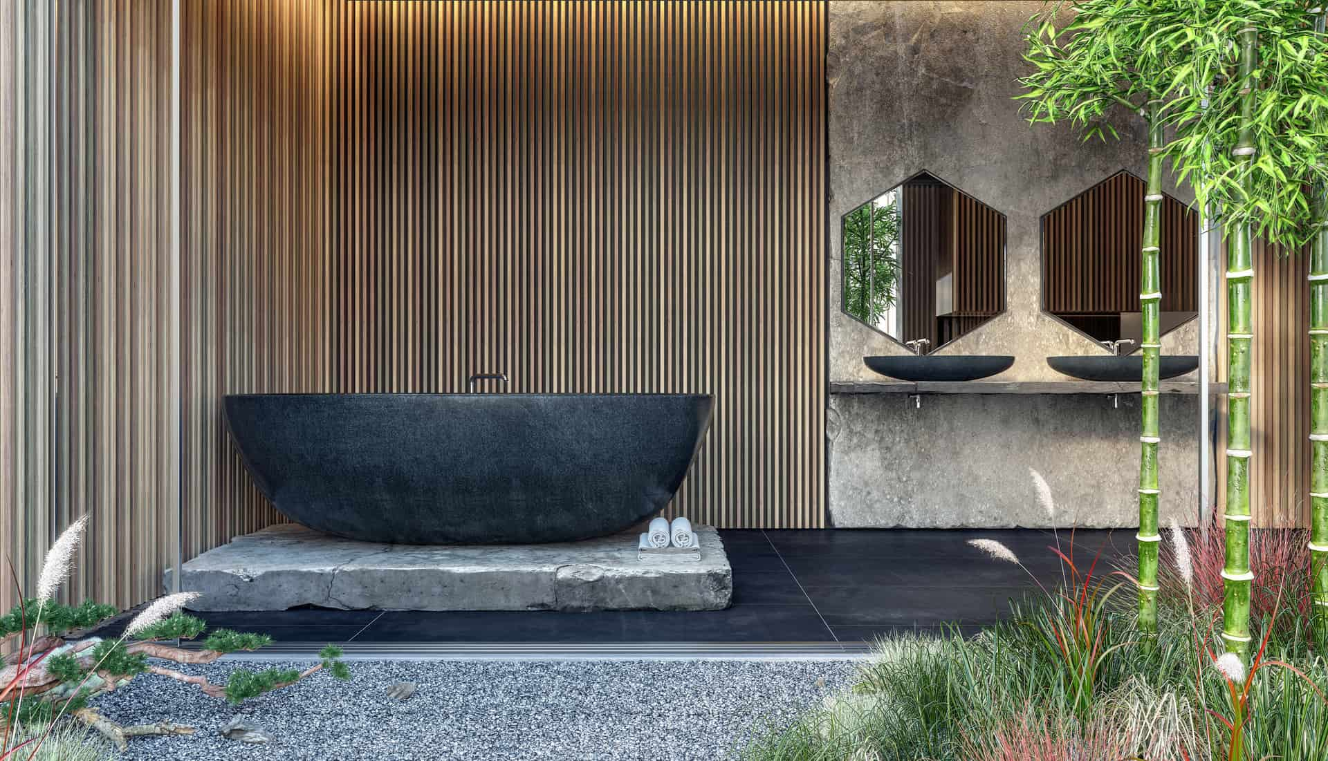 Modern interior design of bathroom with black marble bathtub and wooden wall panels 3D Rendering