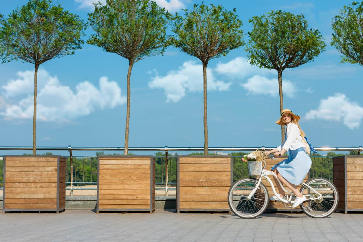 Happy smiling woman dressed stylish retro dress straw hat cycling riding bicycle with basket of flowers. Warm summer spring autumn day. Green trip healthy leisure concept. Trees blue sky white clouds.